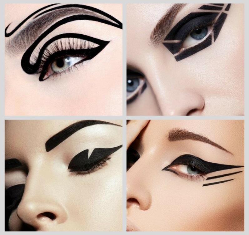 тренды макияжа 2018: монохромная графика