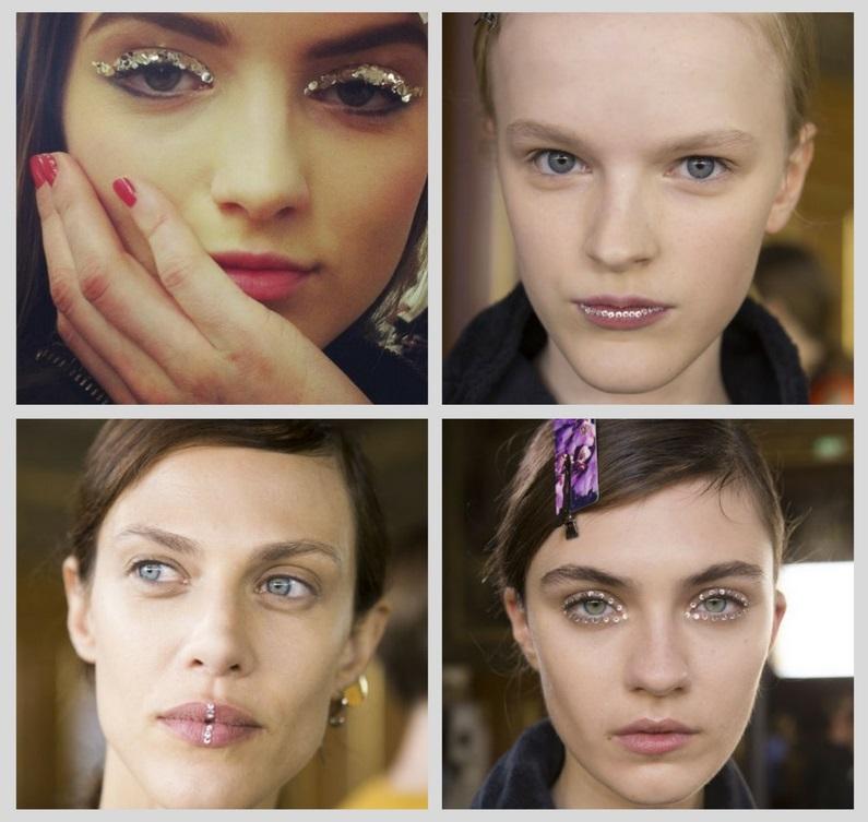тренды макияжа 2018: стразы