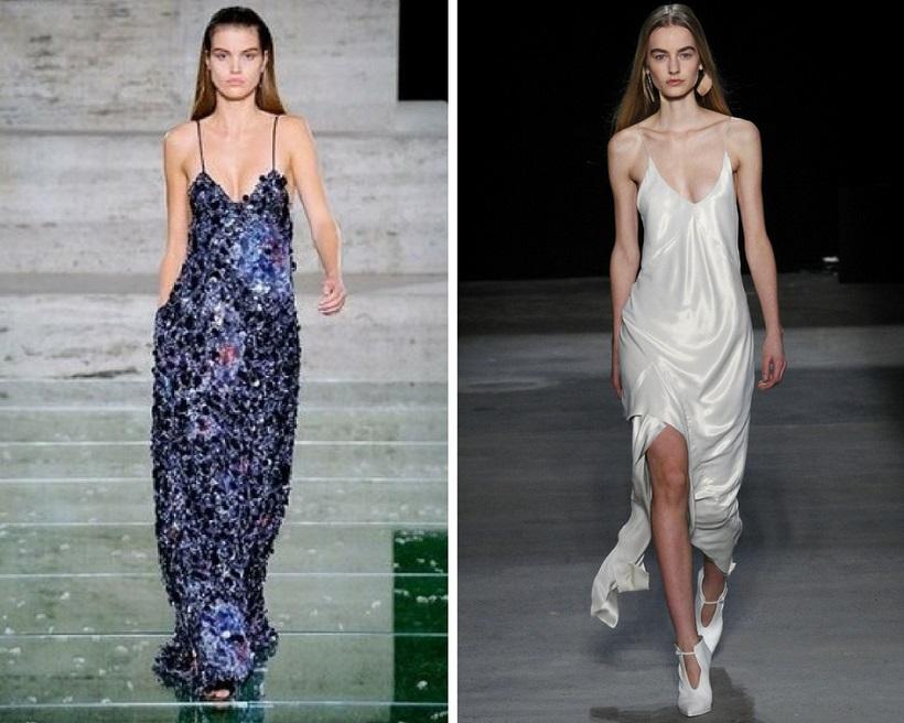 длинное платье комбинация